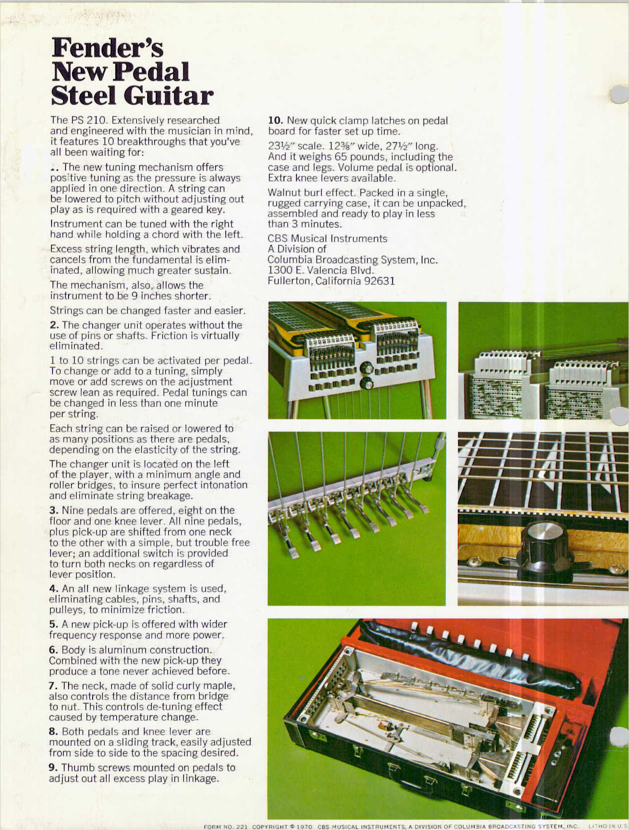 PSG Fender Fender PS 210 Brochure